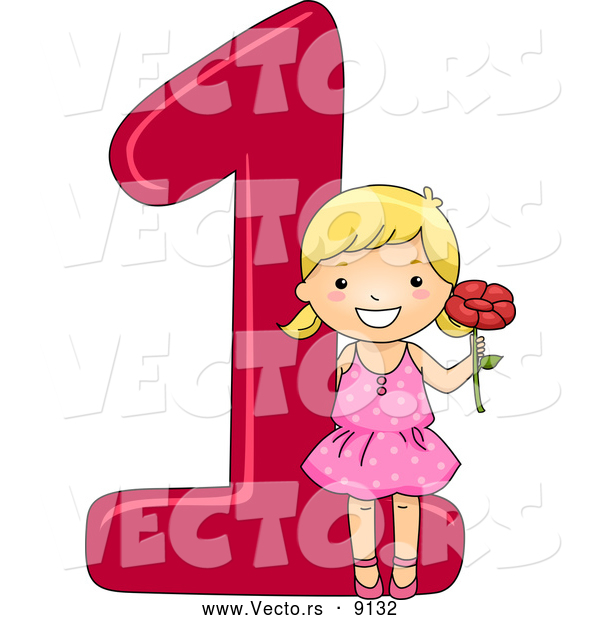 Vector of a Smiling Cartoon School Girl Holding 1 Flower Beside the Number One