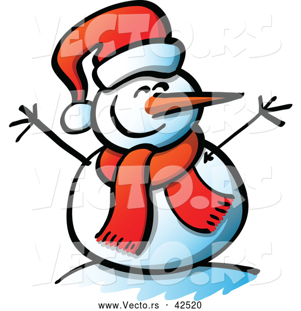 Vector of a Smiling Cartoon Snowman with Open Twig Arms, Santa Hat, and Scarf