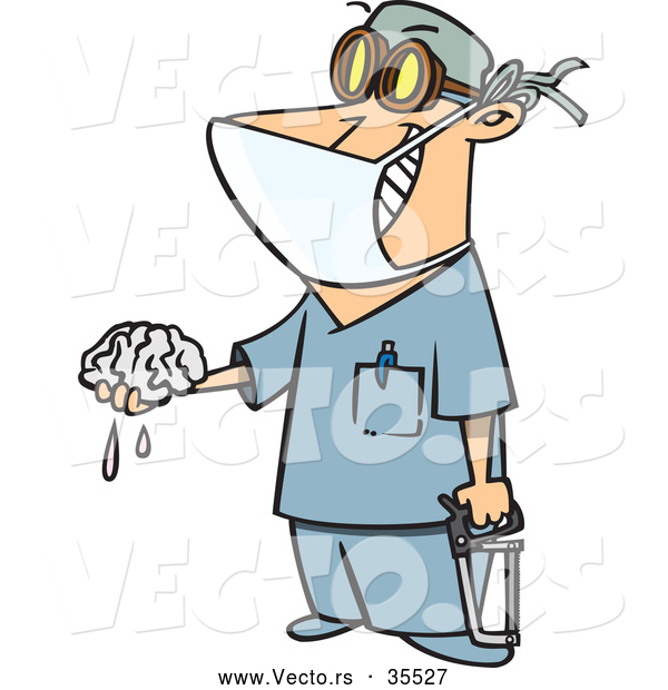 Vector of a Smiling Cartoon Surgeon Holding a Saw and Brain Dripping Fluid