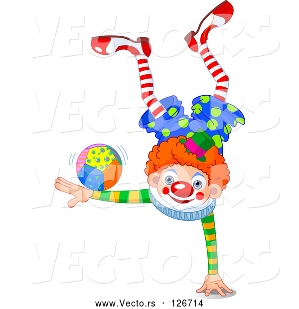 Vector of a Smiling Clown Balanced on One Hand While Doing Tricks with a Ball on the Other