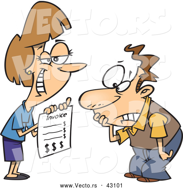 Vector of a Smirking Cartoon Businesswoman Presenting an Upsetting Invoice to a Man