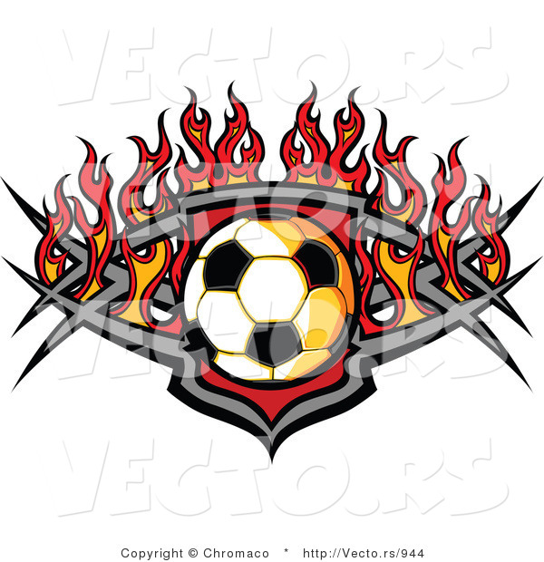 Vector of a Soccer Ball over a Tribal Badge Surround by Fire