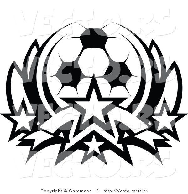 Vector of a Soccer Ball with Stars - Black and White Outline
