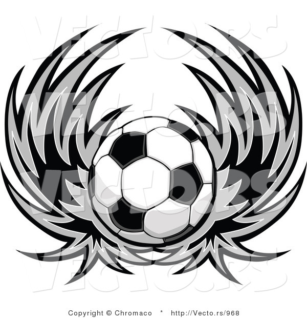 Vector of a Soccer Ball with Wings - Black and White Version