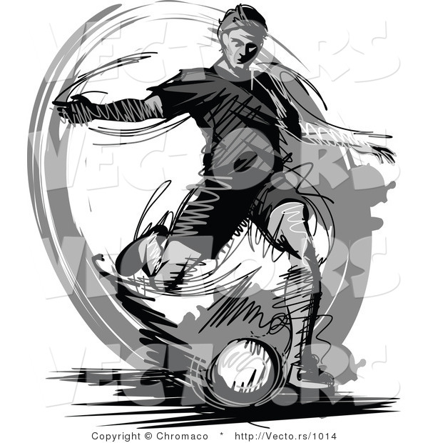 Vector of a Soccer Player Kicking Ball - Grayscale