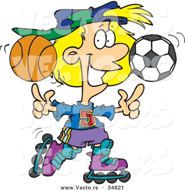 Vector of a Sporty Girl Roller Blading with a Basketball and Soccer Ball