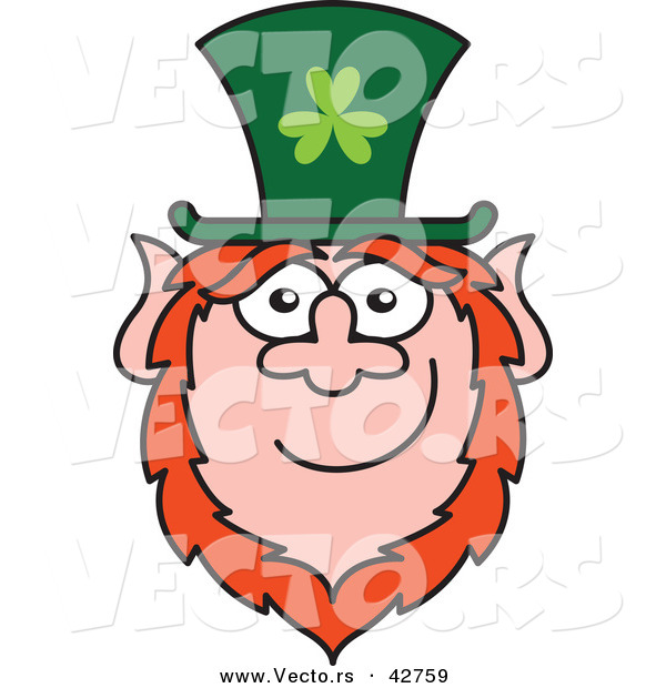 Vector of a St. Paddy's Day Cartoon Leprechaun Smiling