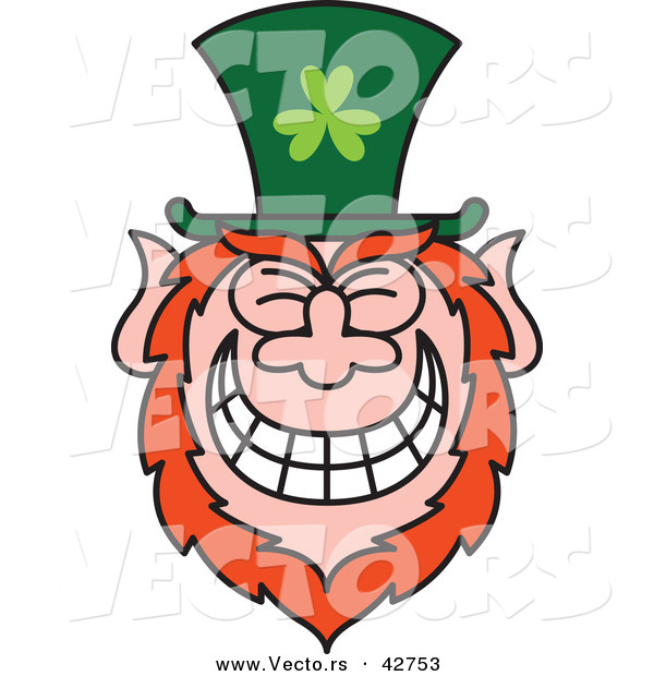 Vector of a St. Paddy's Day Cartoon Leprechaun with Big Grin on His Face