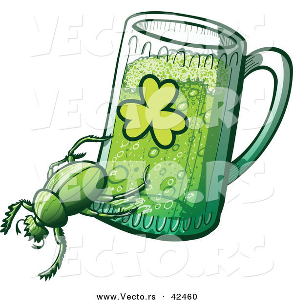 Vector of a St. Patrick's Day Cartoon Beetle Dragging a Beer Mug with a Clover Printed on the Side of the Glass