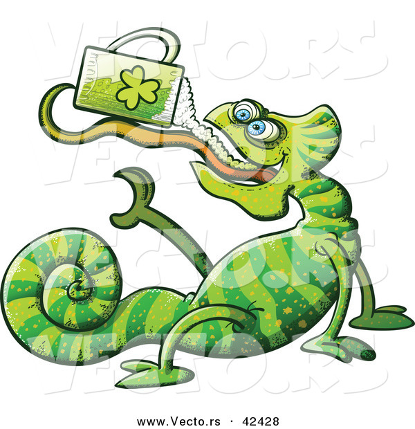 Vector of a St. Patrick's Day Cartoon Chameleon Drinking Beer from Clover Mug