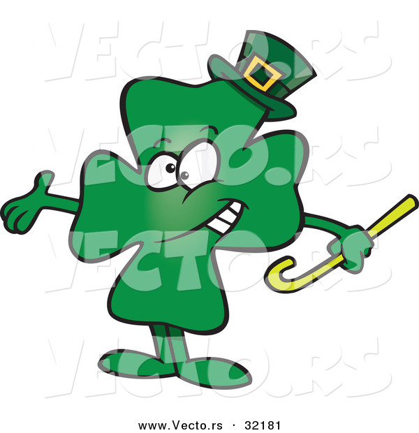 Vector of a St. Patrick's Day Cartoon Clover Presenting Stance