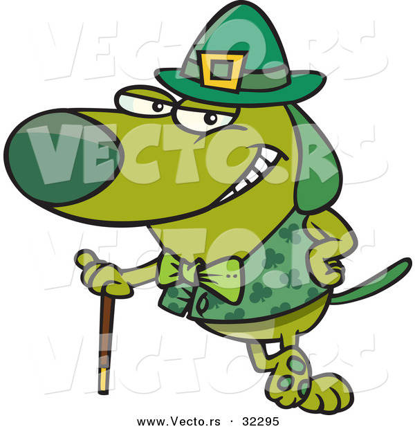 Vector of a St. Patrick's Day Cartoon Dog Leaning Against His Cane While Grinning