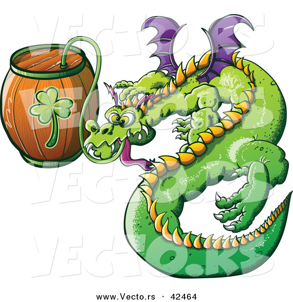 Vector of a St. Patrick's Day Cartoon Dragon Drinking Beer from Clover Keg