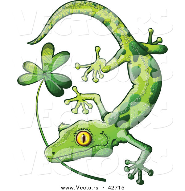 Vector of a St. Patrick's Day Cartoon Gecko Biting Clover Stem