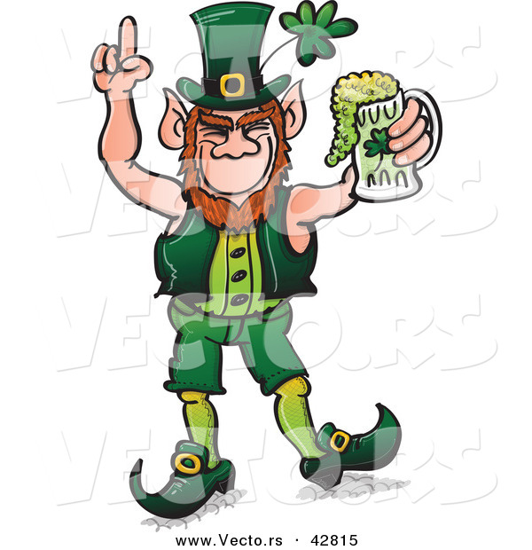 Vector of a St. Patrick's Day Cartoon Leprechaun Celebrating with Full Mug of Beer