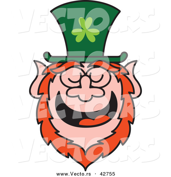 Vector of a St. Patrick's Day Cartoon Leprechaun Laughing