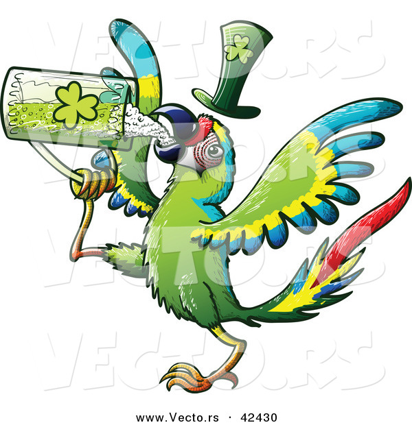 Vector of a St. Patrick's Day Cartoon Macaw Parrot Bird Drinking Beer from Clover Mug