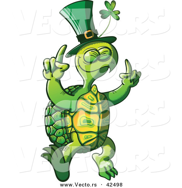 Vector of a St. Patrick's Day Cartoon Turtle Dancing with Clover Hat