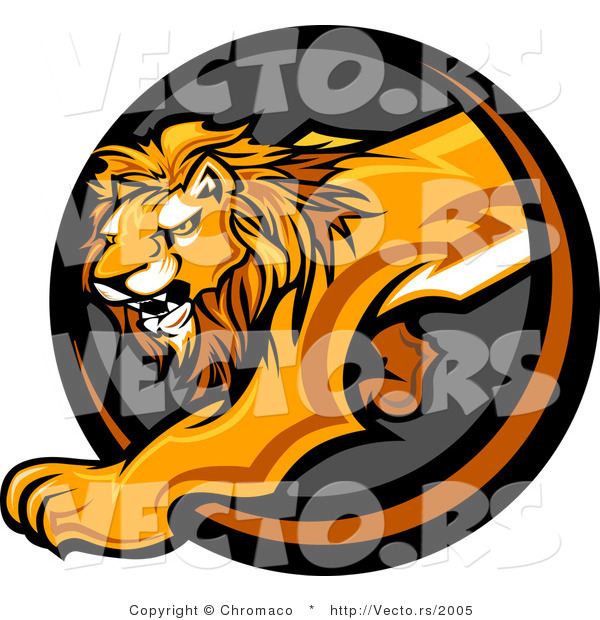 Vector of a Stalking Lion Mascot Stepping out from a Dark Circle Cave Icon
