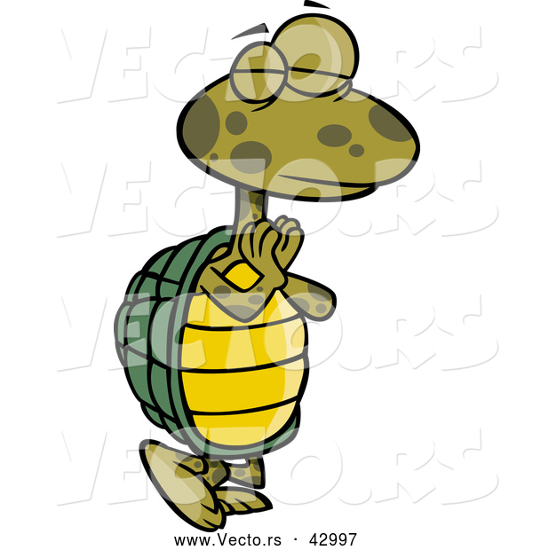 Vector of a Standing Yoga Cartoon Turtle in a Pose