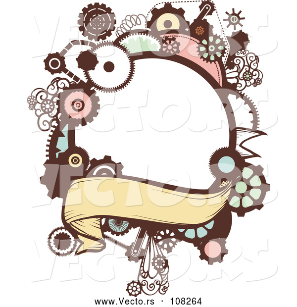 Vector of a Steampunk Frame with Gears and a Blank Banner