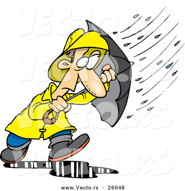 Vector of a Stressed Cartoon Man Walking Through a Nasty Rain Storm with an Umbrella