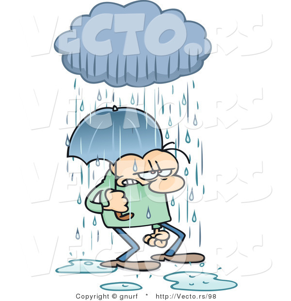 Vector of a Stressed Cartoon Man Walking Under an Umbrella and Rain Cloud