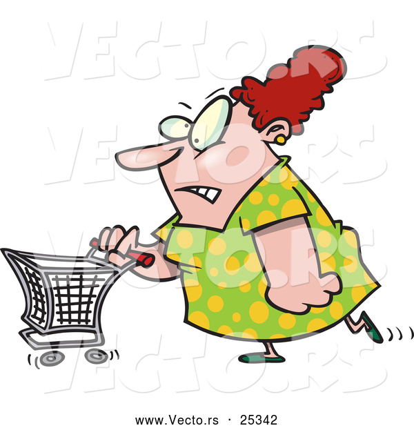 Vector of a Stressed Cartoon Woman Pushing a Shopping Cart While Grinning