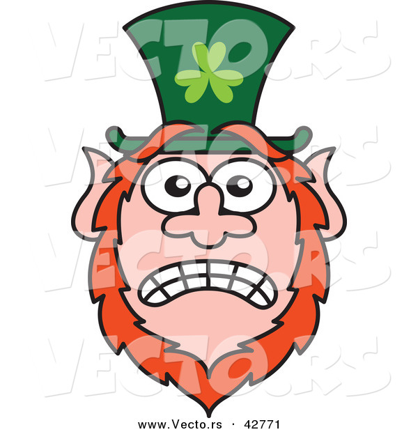 Vector of a Stressed out St. Paddy's Day Cartoon Leprechaun with Worried Look on His Face