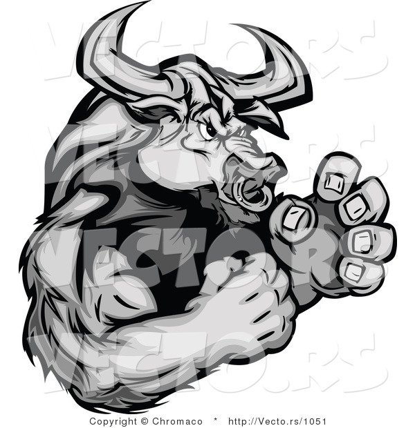 Vector of a Strong Bull Character Ready to Fight