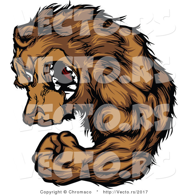 Vector of a Strong Cartoon Alpha Bear Mascot Flexing Arm Muscles While Grinning and Staring with Intimidating Eyes