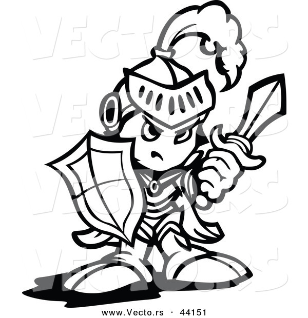 Vector of a Strong Cartoon Knight Holding up a Shield and a Sword - Coloring Page Outline Version