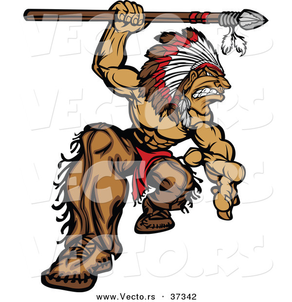 Vector of a Strong Cartoon Native American Chief Mascot Attacking with a Spear