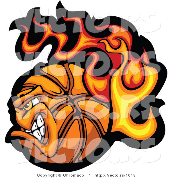 Vector of a Strong Flaming Basketball Mascot Character