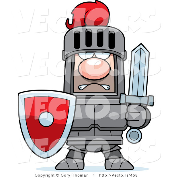 Vector of a Strong Red Armored Knight with Shield and Sword