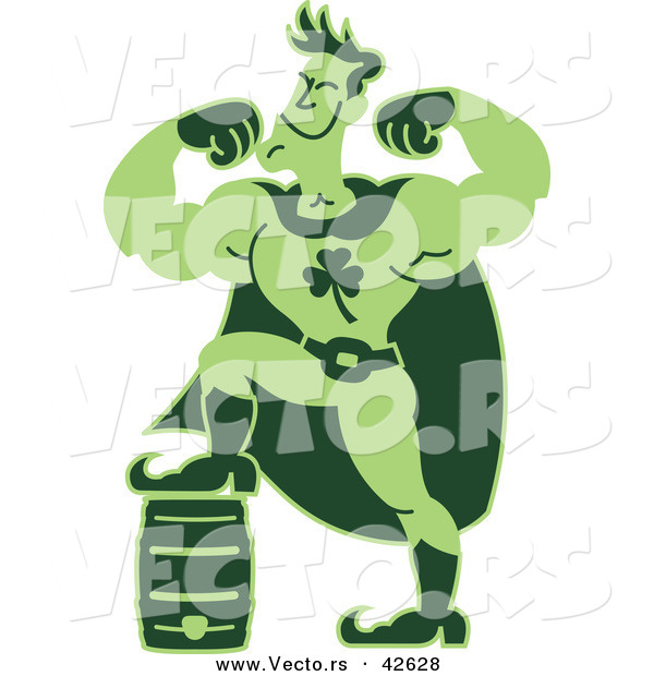 Vector of a Strong Super Hero Cartoon Man Powered by Lucky Clover Beer Keg