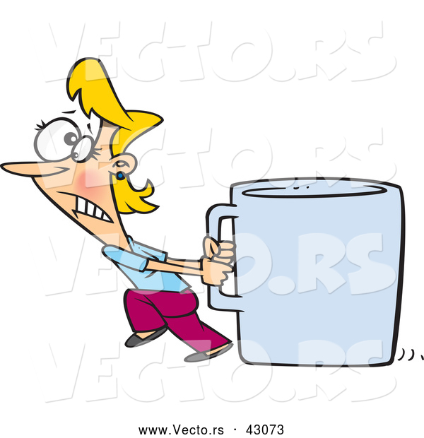 Vector of a Struggling Cartoon Woman Pulling an Oversized Coffee Mug