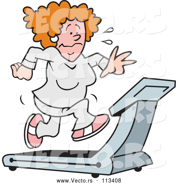 Vector of a Struggling Cartoon Woman Sweating and Running on a Treadmill