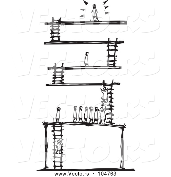 Vector of a Successful Person at the Top of a Ladder Game - Black Lineart Woodcut Theme