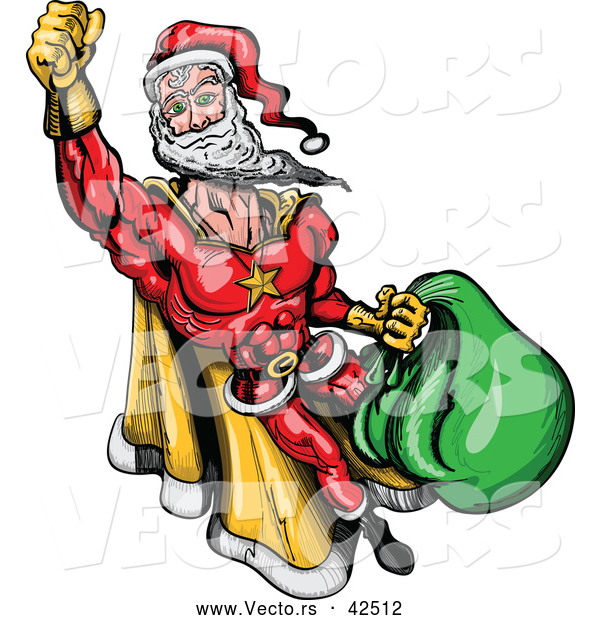 Vector of a Super Cartoon Santa Flying with Bag Full of Presents