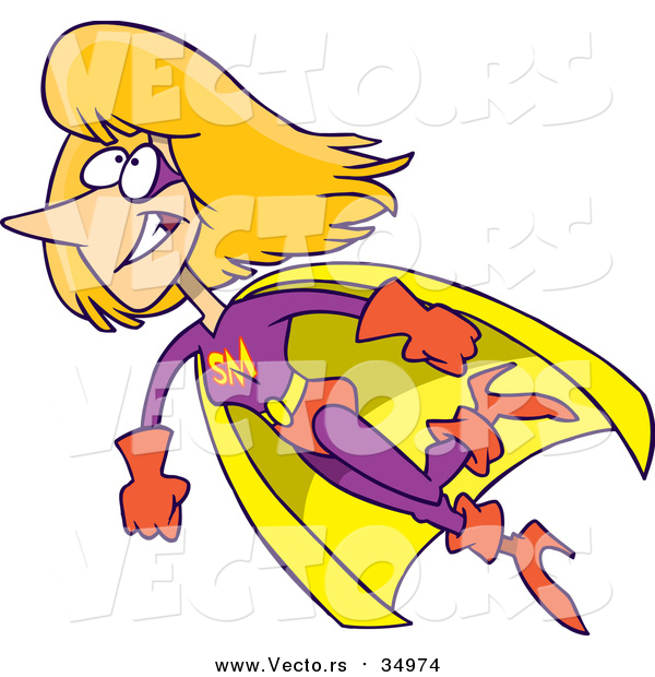 Vector of a Super Mom Flying