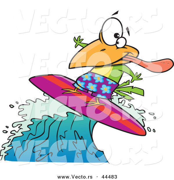 Vector of a Surfing Cartoon Bird Riding a Wave