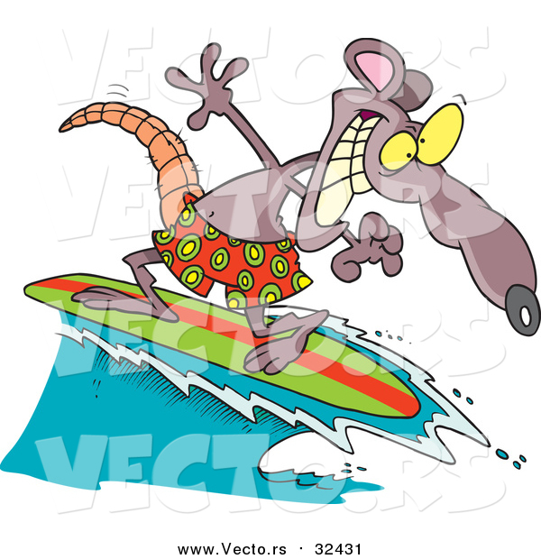 Vector of a Surfing Rat with a Grin - Cartoon Character Style