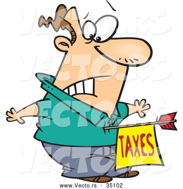 Vector of a Surprised Cartoon Man Being Struck with an Unexpected Government Taxes Arrow