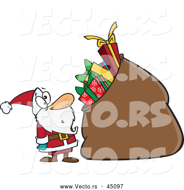 Vector of a Surprised Cartoon Santa Staring at His Oversized Bag of Presents