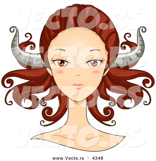 Vector of a Taurus Woman's Face with Horns on Her Head
