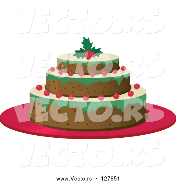 Vector of a Three Layered Cake with Berries and a Holly Garnish