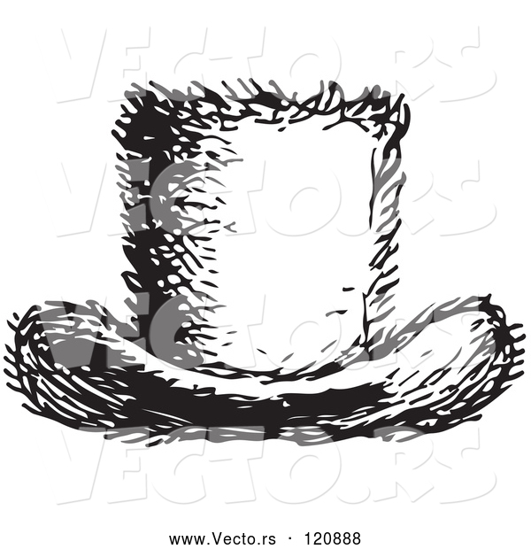 Vector of a Top Hat in Black and White Retro Vintage Style