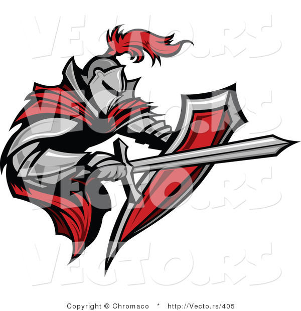 Vector of a Tough Armored Knight with Shield Fighting with a Sword