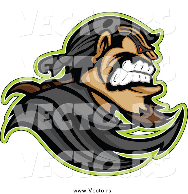 Vector of a Tough Bandit Mascot in Profile